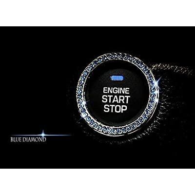 Personality Car Interior Emblem Crystal Ring Sticker,Automotive Parts Start Engine Ignition Button Key & Knobs Key Ignition & Knob Bling Ring, Car Glam Interior Accessory, Unique Women Gift (Blue): Automotive