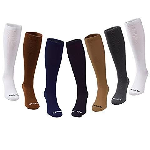 Footloose Compression Socks for Men & Women, Knee High, 7 pairs L/XL