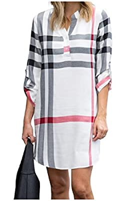Coolred-Women Tunic Printed Loose Long-sleeve V Neck Shirts Plaid Dress