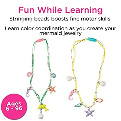 Creativity for Kids Mermaid Jewelry - String Mermaid Beads, Create 8 Jewelry Pieces - Great for Beginners: Toys & Games
