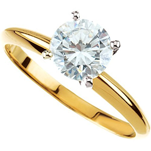Moissanite Tiffany Solitaire - Exquisite! Women's 14k Two-tone 1 ct Round Brilliant Moissanite Solitaire Engagement Ring - 6.5mm Size 11.0