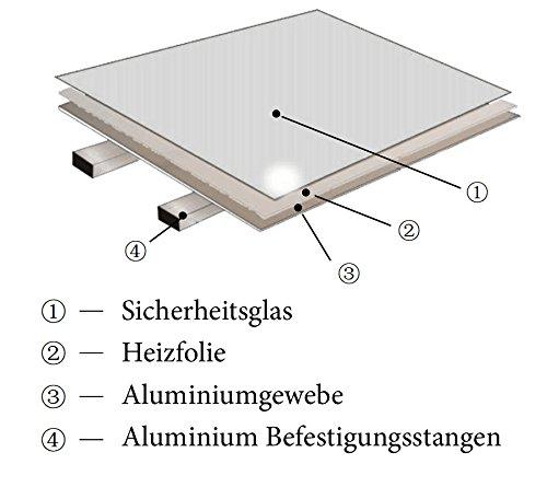 Spiegel Elektroheizung mit /Überhitzungsschutz Viesta H320-SP Infrarotheizung 320 Watt flache Glasheizung aus Sicherheitsglas Heizpaneel mit h/öchstem Wirkungsgrad dank Carbon Crystal Technologie