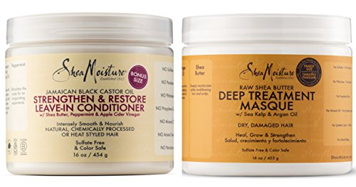 Shea Moisture Raw Shea Butter Powerful Duo, Deep Treatment Masque, 16 Fl Ounce | Shea Moisture Jamaican Black Castor Oil Strengthen and Grow Leave-In Conditioner, 16 Fl Ounce (Hair Treatment Care Black)