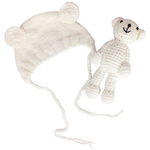 - Jastore Infant Newborn Photography Prop Photo Crochet Boys Girls Knit Toy Bear Hats (White)