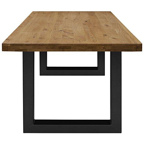 COMIFORT Mesa de Comedor - Mueble para Salon Oficina Despacho Robusto y Moderno de Roble Macizo Color Ahumado, Patas de Acero U-Forma Negras (200x100 cm)
