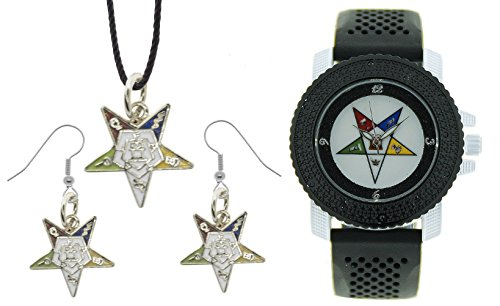 Mason Zone 3 Piece Jewelry Set - Order of The Eastern Star Pendant, Hook Earrings & Order of The Eastern Star Watch. Black Silicone Band CZ Bling Face Dial Watch