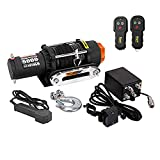 RUGCEL WINCH Waterproof IP68 Offroad 5000 lbs Load Capacity 1.9Hp 12V Electric Winch with Hawse Fairlead, Synthetic Rope, 2 Wired Handle and 2 Wireless Remote (5000 lbs)