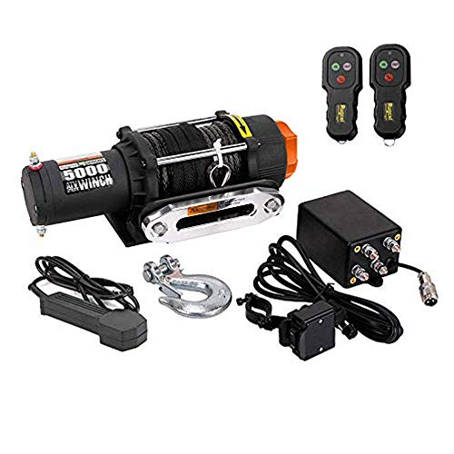 RUGCEL WINCH Waterproof IP68 Offroad 5000 lbs Load Capacity 1.9Hp 12V Electric Winch with Hawse Fairlead, Synthetic Rope, 2 Wired Handle and 2 Wireless Remote (5000 ()