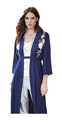 Johnny Was Women's Long Embroidered Silk Cashmere Kimono Sweater, Navy, Medium
