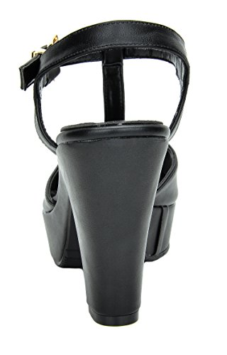 Dream Pairs Womens Michelle Mid Heel Platform Pump Sandals Nero Pu