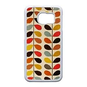 Orla Kiely J9J0De Funda Samsung Galaxy S6 Funda caja del teléfono celular blanco J8K6PX Cubiertas del teléfono del diseñador