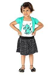 Lil Orchids Big Girls' Printed Mock Shrugged Dress 7-8 Years Green
