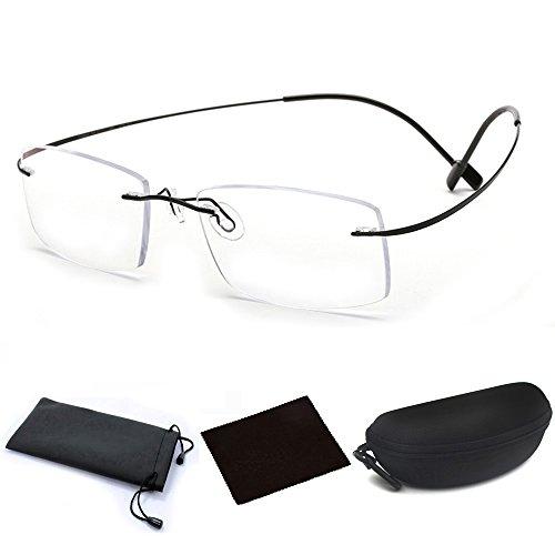 Ultra Lightweight Titanium Alloy Flex Arm Bendable Flexible Rimless Rectangle Reading Glasses Men Women Eye Glasses Clear Vision Magnifying Presbyopic Glasses Black with Portable Eyewear Case (2.5X) ()