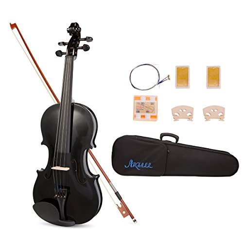 ARTALL 4/4 Full Size Handcrafted Acoustic Violin Beginner Kit for Student with Hard Case, Bow & Accessories, glossy Black by ARTALL
