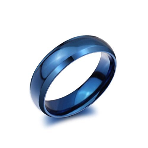 Zealmer Simple Blue Band Ring Plain Titanium Steel Wedding Band Polish Finished Comfort Fit Size 11 (Blue Band)