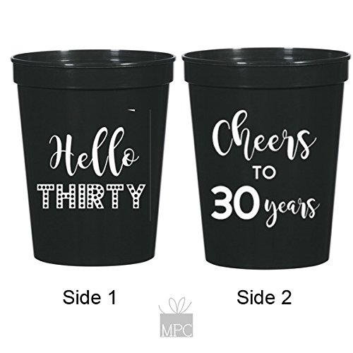 30th Birthday Black Stadium Plastic Cups - Hello 30, Cheers to 30 Years