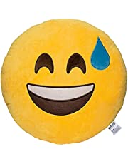 Emoji Smile with Sweat Face Emoticon Cushion Stuffed Plush Soft Pillow, Official Certified, EvZ 32cm Yellow