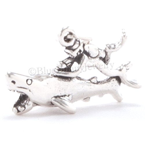 3D SCUBA DIVER & GREAT WHITE SHARK Ocean Dive Charm Pendant Sterling Silver 925 Jewelry Making Supply Pendant Bracelet DIY Crafting by Wholesale Charms