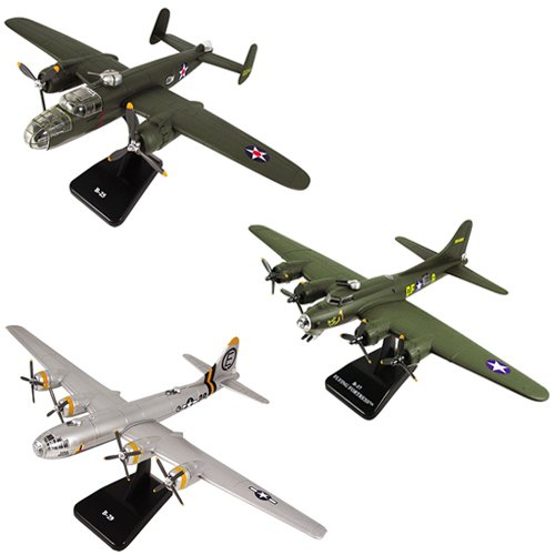 (InAir SMITHSONIAN E-Z Build 3pc Set - B-17 Green Flying Fortress, B-29 Superfortress & B-25 Mitchell - 1:144 Scale)