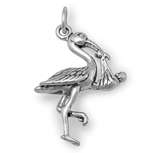 Stork with Baby Charm Sterling Silver, Made in the ()