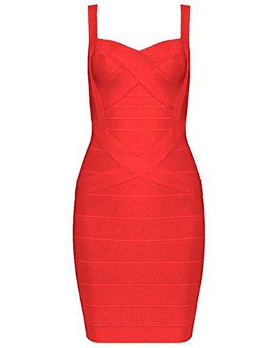 UONBOX Women's Rayon Cute Sleeveless Bodycon Bandage Strap Dress red S