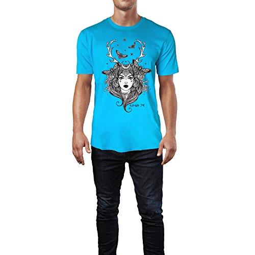 SINUS ART® Frau mit Hirschgeweih und Motten Herren T-Shirts in Karibik blau Cooles Fun Shirt mit tollen Aufdruck