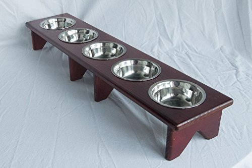 Pet Bowl Stand - Wooden - 5 Bowls – Raised feeder for multiple cats or dogs by Fabian Woodworks