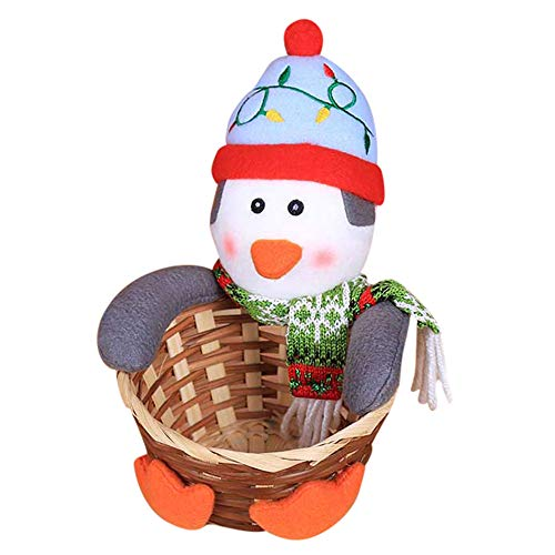 Christmas Candy Storage Basket, Candy Cookies Food Holder Bamboo Basket Home Decoration Storage Basket Santa Claus Christmas Gift Basket (E)