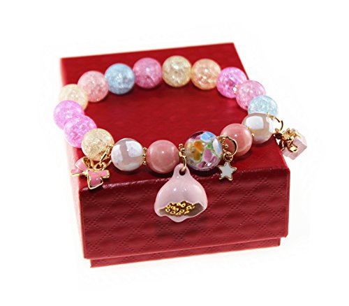 le Crystal & Colored Glaze Charm Bracelet with Lotus Pendant (Colorful) (Ice Crystal Bracelet)