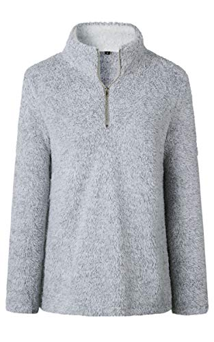 Angashion Womens Sweatshirt - Long Sleeve 1/4 Zip Up Faux Fleece Pullover Hoodies Coat Tops Outwear with Pocket 174 Silver Grey M