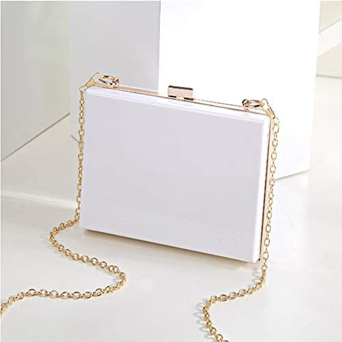 ハンドバッグ - 新しい透明ボックスパッケージ、チェーンバッグ韓国語バージョン、ミニマルソリッドカラーのショルダーメッセンジャーバッグ、ハンドクラッチハンドバッグ、財布 よくできた (Color : White)