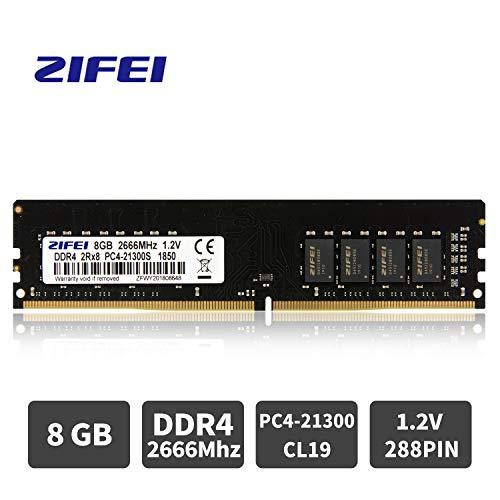 (ZIFEI DDR4 8GB 2666MHz PC4-21300 1.2V CL19 2Rx8 Dual Rank 288 Pin Unbuffered Non-ECC UDIMM Desktop PC Memory RAM Module Upgrade)