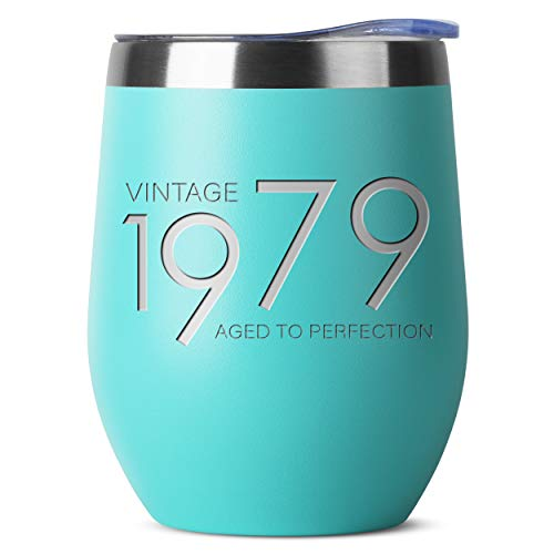 1979 40th Birthday Gifts for Women and Men Teal 12 oz Insulated Stainless Steel Tumbler   40 Year Old Presents   Mom Dad Wife Husband Present   Party Decorations Supplies Anniversary Tumblers Gift th