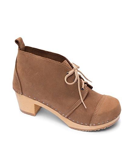 Sandgrens Swedish High Heel Wooden Clog Boots for Women | Chukka Cap Toe Dexter Tan, EU 35