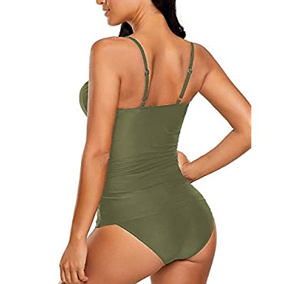 LookbookStore Women's Ruched Wrap Front Tankini Set 2 Piece Swimsuit Beachwear at Women's Clothing store