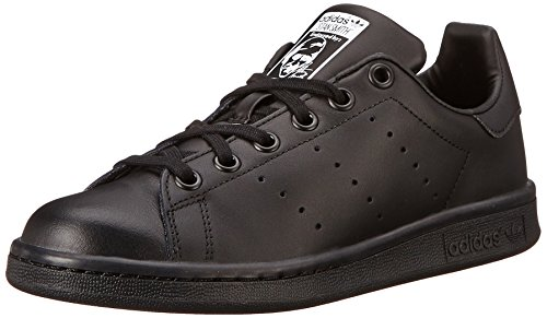 adidas Performance Stan Smith J Tennis Shoe (Big Kid), Black/Black/Running White, 7 M US Big Kid