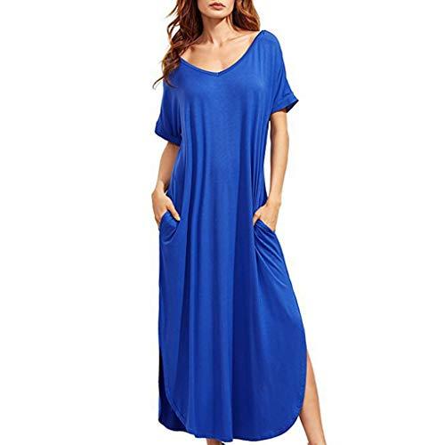 Nihewoo Women's Loose Plain Maxi Dresses Short Sleeve Split Maxi Dresses Cocktail Formal Swing Dress Summer Long Dress Blue