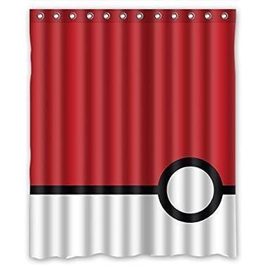 Pokemon Minimalistic Poke Balls Best Home Fashion Custom Fabric Bathroom Shower Curtain 60(W)X72(H)