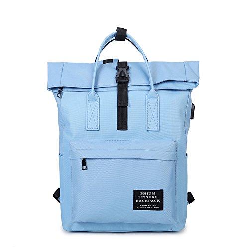 New 2017 Women Girls Backpack USB Charging Nylon Backpacks School Bags For Teenagers Girl mochila feminina Students Satchel (blue)