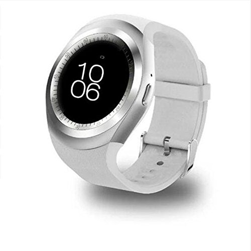 Y1 Plus Smart Watch MTK2502D 1.54 Inch IPS Screen Pedometer Sleep Heart Rate Monitor Smartwatch Touch Screen clock for iOS Android phone (white)