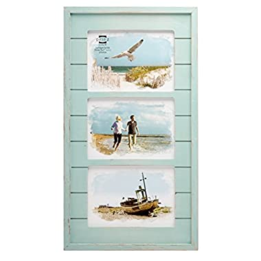 Prinz 3 Opening Seaside Wood Plank Collage Frame, 5 x 7 , Aqua
