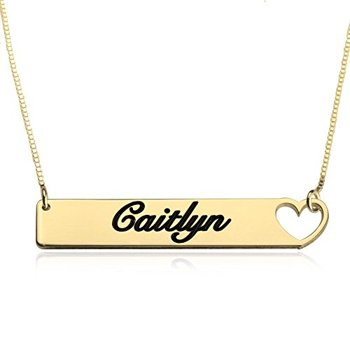 oNecklace - Cut Out Heart Bar Necklace (Gold (Gold Plated Cut Out)