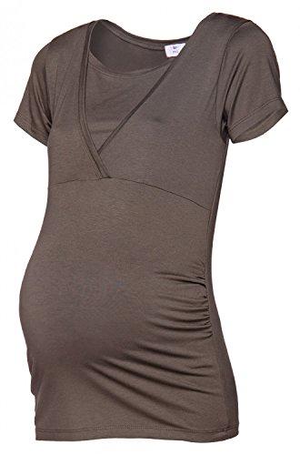 Shirt 790p Maglietta L'Allattamento prémaman T Donna Taglio Impero HAPPY Cachi MAMA TqwYCU