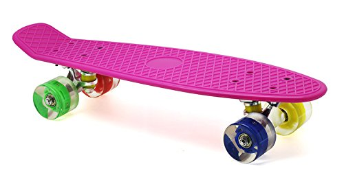 Merkapa 22 Complete Skateboard with Colorful LED Light Up Wheels for Beginners (Pink)