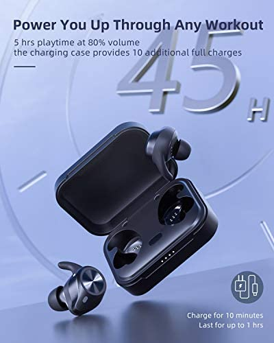 Sports Wireless Earbuds, VANKYO S400 Bluetooth Earbuds IPX8 Waterproof Sports Earphones with Touch Control Immersive Deep Bass Sound Ear Fins 45Hrs Playtime for Running Working Out Gym, Exercise