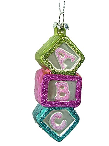 Glass Baby's First Christmas ABC Blocks Christmas Tree Ornament