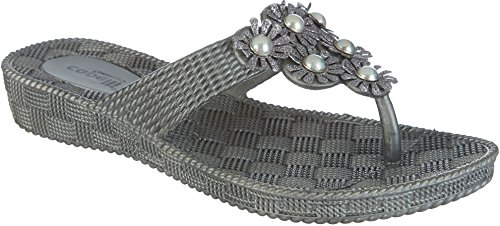 Capelli New York Woven textured injected hooded thong with glitter faux leather flowers Ladies Flip Flop Pewter Grey u6qu01iR3