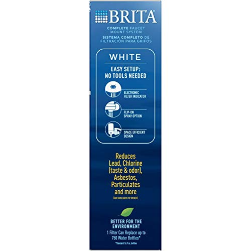 Brita Tap Water Filter System, Water Faucet Filtration System with Filter Change Reminder, Reduces Lead, BPA Free, Fits Standard Faucets Only - Complete, White by Brita (Image #7)