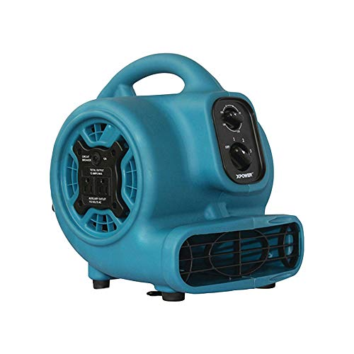 An Item of XPOWER P-230AT 800 CFM 3-Speed Mini Air Mover/Floor Dryer/Utility Blower Fan w/Timer and Power Outlets - Pack of 1 -  Product of XPOWER