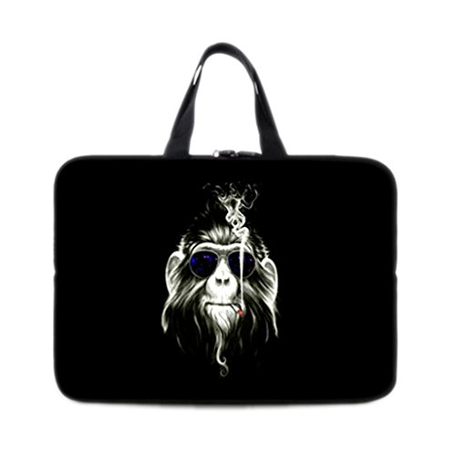 (Riverer Cool Monkey Smoking Laptop Sleeve Carring Bag with Handles, 17 Inch)
